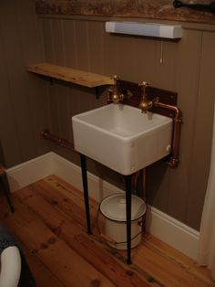 mini belfast sink - globe taps - copper piping - french enamel bucket