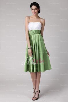 Lovely Sheath/Column Strapless Sleeveless Green And White Pleats Knee-Length Elastic Woven Satin Bridesmaid Dress