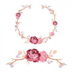 Rosas grinalda e projeto do ornamento Vetor grátis