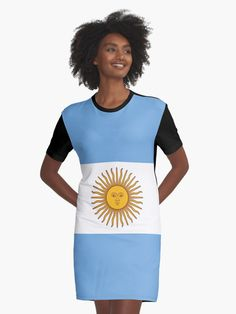 'Argentina Flag' Graphic T-Shirt Dress by ArgosDesigns Argentine, I Dress, Shirt Dress, Chiffon Tops, V Neck T Shirt, Classic T Shirts, Blue And White, Casual, Flag