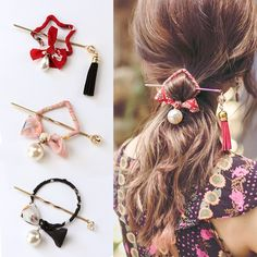 >> Click to Buy << New Chinese National Style Round Square Bows Pearl Print Hair Sticks Women Elegant Hair Pins Headband Lady Hair Accessories #Affiliate