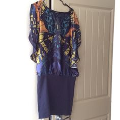 Really beautiful express dress Really beautiful dress! Never been worn. Pretty butterfly only on the front, the back is dark blue! Express Dresses