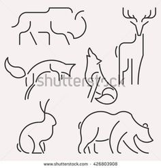 Illustration about vector line forest animals logo set. Bear Template, Royalty Free Images, Royalty Free Stock Photos, Freedom Life, Forest Illustration, Logo Line, Print Layout, Animal Sketches, Geometric Lines