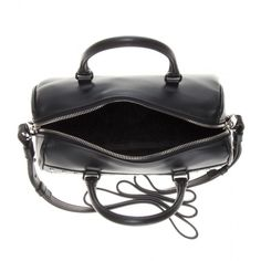 Saint Laurent Duffle 3 Mini Embellished Leather Bowling Bag (1,132,970 KRW) ❤ liked on Polyvore featuring bags, handbags, accessories - bags, purses, genuine leather handbags, genuine leather purse, real leather handbags, handbag purse and mini handbags