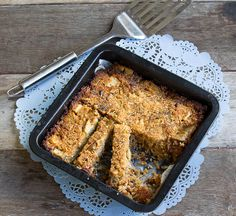 Our pear, quinoa, date and vanilla slice goes perfectly with a cup of tea.