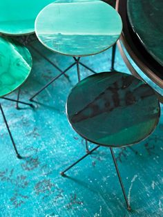 Divine, green cactus-laden Lake Como home of Draga Obradovic and Aureal K Basedow, from Elle Decoration February Photographs by Fabrizio Cicconi. Draga Obradovic designs, amongst other things, handmade silkscreen fabrics. Bleu Turquoise, Aqua Blue, Shades Of Turquoise, Shades Of Green, Tiffany Blue, Cofee Table, Living Colors, House Of Beauty, Photocollage