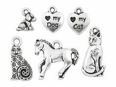 TierraCast Antique Silver-Plated Pewter Pets Charm Set (6pcs)