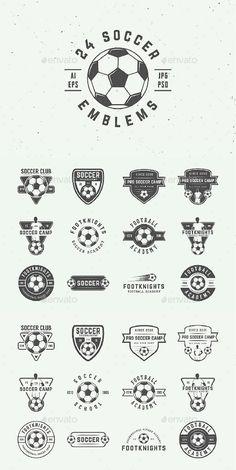 Buy 24 Vintage Soccer Emblems by Akim_D on GraphicRiver. Set of vintage soccer and football logos, badges, emblems and design elements Can be used for logo design, badge desi.
