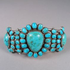 Row Brecelet with Clusters, Shiprock Gallery, Santa Fe, NM Zuni Jewelry, Turquoise Jewelry, Turquoise Bracelet, Jewelery, Silver Jewelry, Vintage Jewelry, Vintage Turquoise, Coral Turquoise, Turquoise Stone