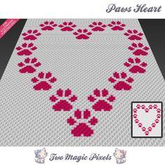 Paws Heart crochet blanket pattern; knitting, cross stitch graph; pdf download…