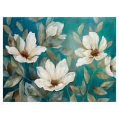 Our Shades of Blue Canvas Art Print features a collection of flowers seemingly swaying in the wind! Simple Oil Painting, Oil Painting Flowers, Painting Prints, Art Prints, Blue Prints, Flower Paintings, Painting Art, Blue Canvas Art, Canvas Wall Art