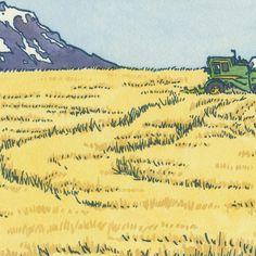 GOLDENDALE WHEAT FIELD original hand colored letterpress print featuring Mt. Adams and Mt. Rainier.Etsy *****