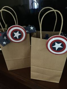Captain America themed birthday party girls and boys goodie bags!
