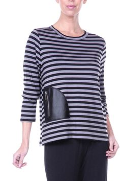Long sleeve, black and grey stripe top with black faux leather pocket. Fun to wear to work or just around town with jeans or your favorite dress slacks. Front Pocket Top by Comfy. Clothing - Tops Iowa