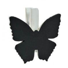 Ardoise papillon blanc sur pince déco les 6