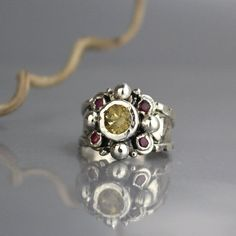59b5c7e97 Sterling Silver Statement Ring Citrine Ruby Ring Chunky Ruby Necklace, Ruby  Earrings, Ruby Jewelry