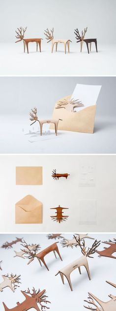 maria skappel. Leather pop-up reindeer tabletop decorations. Easy to mail