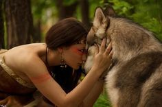 308049_554687744555613_1551015906_n.jpg (wolf,girl,photography,forest,woods,body paint,tribal)