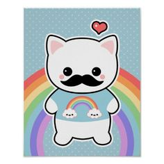 mustache cat with happy rainbow clouds