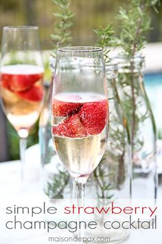 Learn how to make a simple and delicious strawberry champagne cocktail - so easy and the perfect recipe for making any occasion special   maisondepax.com sponsored