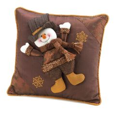 Golden Sparkle Snowman Pillow Free Shipping
