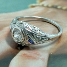Antique Edwardian diamond ring,1920s jewelry style,Filigree engagement ring,Sapphire diamond wedding,Art Deco white gold engagement ring