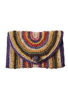 Rainbow crochet clutch. Wooden ball closure. Very unique bag. Love the idea of making this bag a statement by pairing it with solid colors, especially white and navy. Era 1970s. Excellent vintage condition.  Height 8 ½″ Length 12″ Depth ½″