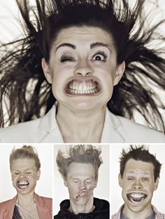"""Visitors to the TADAO CERN studio were invited to participate in a crazy photo shoot where a strong current of air was blown into their faces creating some incredibly funny facial expressions."""