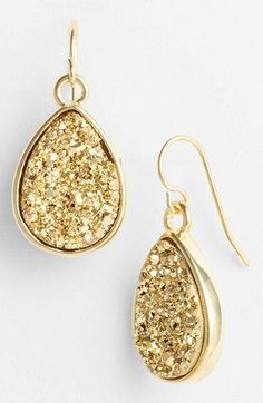 Marcia Moran Small Drusy Teardrop Earrings V I Love Jewelry, Jewelry Box, Jewelry Accessories, Fashion Accessories, Fashion Jewelry, Fine Jewelry, Druzy Jewelry, Jewlery, Gold Drop Earrings