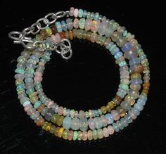 """32Ctw1Necklace 2to4.5mm 15"""" Beads Natural Genuine Ethiopian Welo Fire Opal 97673"""