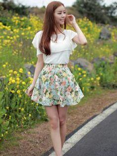 Ruffle Pleat Floral Chiffon Skirt