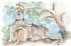 Capilla San Roque, hauteurs de Cangas, Galice aquarelle, crayons de couleur, graphite Canson Montval 210g, grain fin