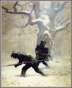 """""""The Black Arrow"""" by Robert Louis Stevenson 'He…studied out their path"""" 1916 illustrations by N. Wyeth (Source : beautifulcentury, via timespent) Jamie Wyeth, Andrew Wyeth, Dungeons And Dragons, Arrow Illustration, Nc Wyeth, Howard Pyle, Edmund Dulac, Art Brut, Winter Pictures"""
