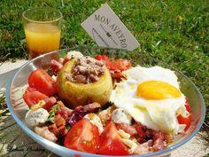 ... Salade gourmande : pomme de terre campagnarde et vinaigrette noix-framboise ...