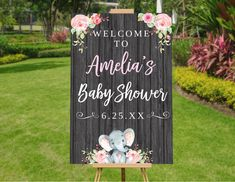 Elephant Baby Shower Decorations Girl, Baby Shower Welcome Sign, Baby Shower Banner Girl, Baby Shower Printables, Baby Shower Decor Poster – Baby Shower İdeas 2020 Baby Girl Shower Themes, Girl Baby Shower Decorations, Baby Shower Centerpieces, Baby Shower Parties, Baby Decor, Table Decorations, Baby Shower Welcome Sign, Baby Shower Signs, Baby Shower Printables