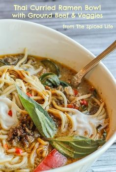 Thai Curried Ramen Bowl with Ground Beef, Mushrooms and Veggies: EASY, FAST and TASTY!!!!!