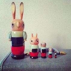 Rare Odd Vintage Rabbit Nesting Dolls. $