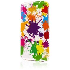 Apple iPhone 6 6S SNAPZ Slim 2 Piece Hard Case, White Paint Splatter ($6.95) ❤ liked on Polyvore featuring accessories and tech accessories