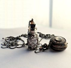 Alice in Wonderland Crystal Pocket Watch and Drink by traceyanne