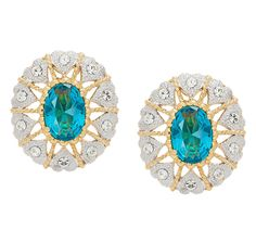Jackie Kennedy Simulated Blue Topaz Button Earrings