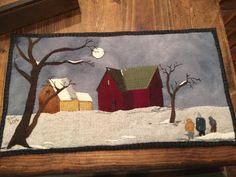 Pattern Home before dark wool applique by SusanGonzalesDesigns