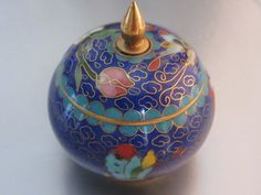 Chinese Cloissone Small Unusual Trinket Box by SilverVintageCrafts