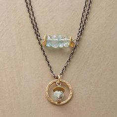 """AQUATICA NECKLACE -- In this multi-strand aquamarine necklace, the ocean hues of aquamarine are all the more lovely when paired with brass beads and oxidized sterling. Lobster clasp. USA. Exclusive. 17""""L with a one inch drop."""