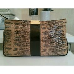 """Like New JIMMY CHOO """"Zulu"""" clutch Authentic tan and black Croc clutch in like new condition.  Still have price tag. Includes dust cover and certificate of Authenticity. 12"""" x 7"""" x 1"""" NO TRADES Jimmy Choo Bags Clutches & Wristlets"""