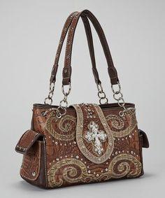 Another great find on #zulily! Brown Crocodile Western Horseshoe Cross Handbag #zulilyfinds