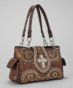 Another great find on #zulily! Brown Crocodile Western Horseshoe Cross Handbag #zulilyfinds