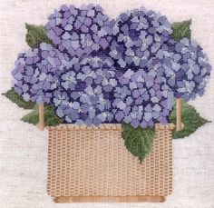 Imaginating Nantucket Basket - Cross Stitch Pattern. Model stitched on 14 count Fiddler's Lite with DMC floss. Stitch Count: 125 x 136.