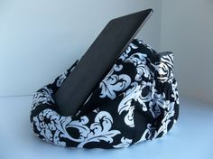 iPad Pretty Butterflies on Navy Blue. Tablet Kindle Bean Bag Cushion Support