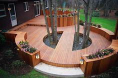 Deck built around trees
