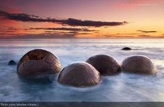 The Moeraki Boulders have long been the subject of legend and curiosity. Description from gettyimages.com. I searched for this on bing.com/images